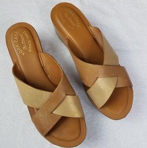 Kork Ease Women's Tan Leather Criss Cross Slides